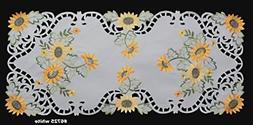 "Creative Linens Sunflower Table Runner 15x34"" Embroidered Cu"