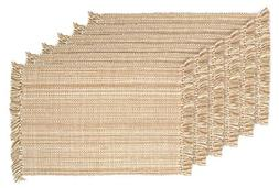 DII Tonal Fringe Placemat, Set of 6, Variegated Taupe - Perf