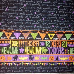 """Halloween Double Border Table cloth 100% cotton 60"""" wide fab"""
