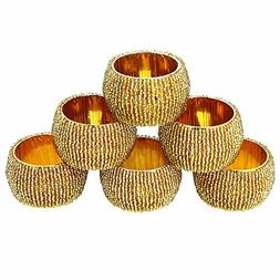 Artncraft Handmade Indian Gold Beaded Napkin Rings - Set of