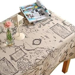 LINENLUX Map Printed Lace Table Cloth Round&Rectangular&Oval
