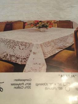 "Lace Table Cloth In Poly/Cotton Blend. 52""x70"" Oblong Wh"