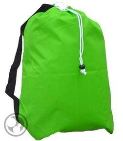 Large Laundry Bag with Drawstring and Strap, Color: Lime Gre