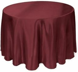 LinenTablecloth 108-Inch Round Satin Tablecloth Burgundy