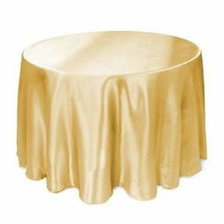 LinenTablecloth 108-Inch Round Satin Tablecloth Gold