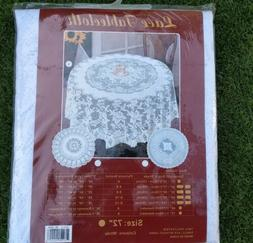 """NIP Polyester lace table cloth white 72"""" round wedding party"""