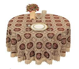 Simhomsen Vintage Burgundy Lace Tablecloth Embroidered Round