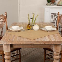 VHC Brands 6175 Burlap Natural Table Topper Fringed 40x40
