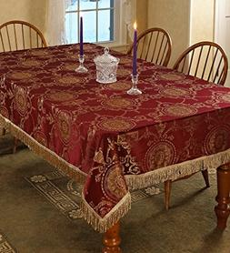 Violet Linen Prestige Damask Design Oblong/Rectangle Tablecl