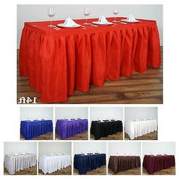 Accordion Pleat Polyester Table Skirt for Kitchen Dinning Ca