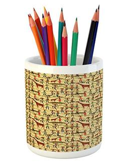 Ambesonne Africa Pencil Pen Holder, Woman Silhouette with Co