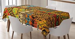 Ambesonne African Tablecloth, Grunge Collage with Ethnic Mot