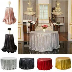 AG_ Round Sequin Tablecloth Rose Gold Silver Table Cloth Cov