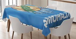 Ambesonne American Decor Tablecloth, Flag of Oklahoma Ceremo