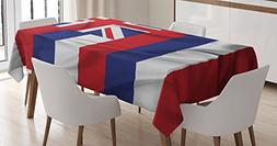 Ambesonne American Decor Tablecloth, Hawaii Flag Represents