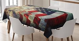 Ambesonne American Flag Decor Tablecloth, Composite Photo of