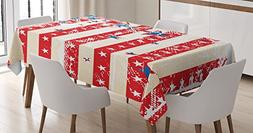 American Flag Tablecloth by Ambesonne, USA National Star Fig