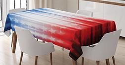 Ambesonne American Flag Tablecloth, for 4th of July Celebrat