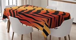 Ambesonne Animal Print Decor Tablecloth, Abstract Tiger Skin