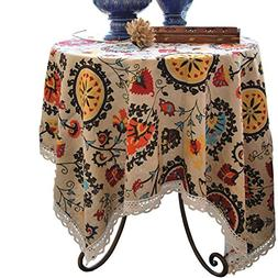 Aothpher Modern Boho Floral Jacquard Washable Tablecloths wi