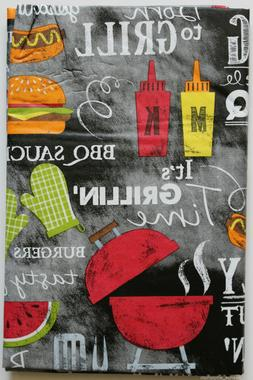 ASSORTED SIZES King of the BBQ Vinyl Tablecloth COOKOUT Fami