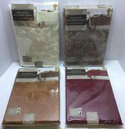 Autumn Vine Damask Table Cloth - Fall Themed Poly/Cotton Ble