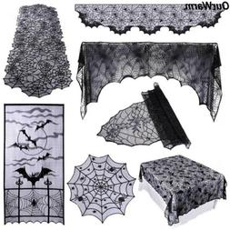 Bats Spiderweb Fireplace Mantle Scarf Cover Table Cloth Hall