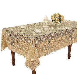 Simhomsen Beige Embroidered Lace Tablecloth 54 By 72 Inch Re