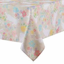 Celebrate Together Beige Floral Easter Bunny Tablecloth Tabl