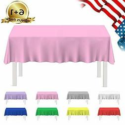 Besos Home-Plastic Tablecloth 7 Pack Disposable Rectangle Ta