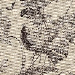 "Bird Toile Fossil Brown 90"" Round Tablecloth Cotton with Hea"