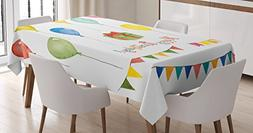 Ambesonne Birthday Decorations Tablecloth, Watercolor Set fo