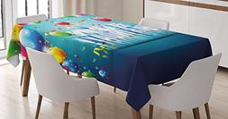 Ambesonne Birthday Decorations Tablecloth, Realistic Design