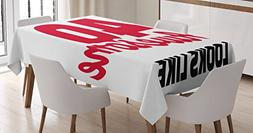 Ambesonne 40th Birthday Decorations Tablecloth, Forty and Aw