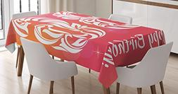Ambesonne 36th Birthday Decorations Tablecloth, Ombre Vivid