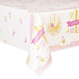 1st BIRTHDAY Pink and Gold PLASTIC TABLE COVER ~ Party Suppl