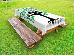 Ambesonne 50th Birthday Outdoor Tablecloth, Stylized Tree Ic