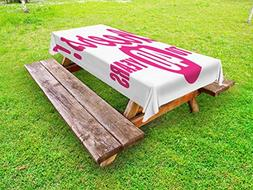Ambesonne 40th Birthday Outdoor Tablecloth, Cheerful Happy M