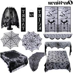 Black Lace Spider Web Table Cloth Ghost Prop Pumpkin String