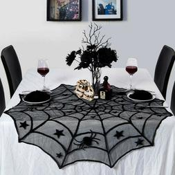 Black Lace Spiderweb Table Cloth Cover Window Horror Hallowe