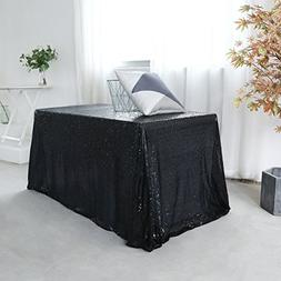 GFCC Black Rectangular Sequin Tablecloth, Birthday Party Seq