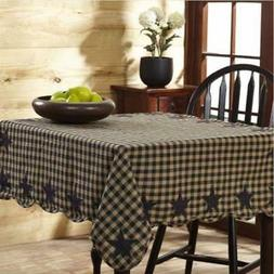 "VHC Brands Black Star 60"" x 80"" Cotton Checkered Tablecloth"