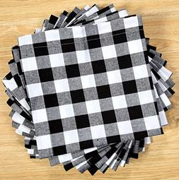 Pack Of 12 Black -white 100% Cotton Yarn Dyed Gingham Check