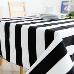Black White Stripe Table Cloth Dining Cover Dustpoof Washabl