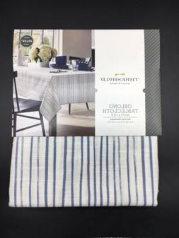 "Threshold Blue White Oblong 60"" x 84"" Tablecloth Kitchen Tab"