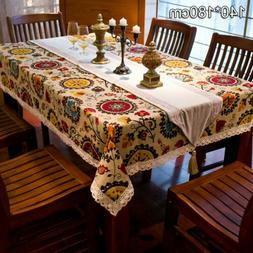 Bohemia Style Cotton Linen Dining Table Cloth Kitchen Table