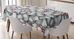 Ambesonne Bowling Party Decorations Tablecloth, Pile of Vivi