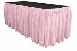 LA Linen Bridal Satin Pleated Table Skirt with 10 Large Clip
