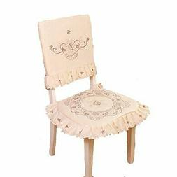 JH tablecloths Brown Flower Embroidered lace Cream Chair Bac