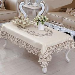 Brown Flower Embroidered Lace Cream Tablecloth Rectangular C